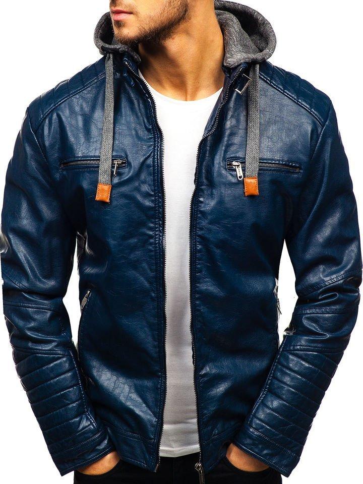 Мужская кожаная куртка темно-синяя Bolf ex702 5408801c788bb
