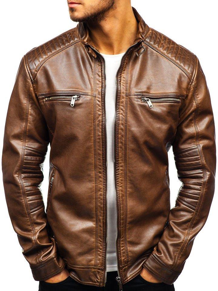 5d9bcd384a1 Мужская кожаная куртка темно-синяя Bolf ex705