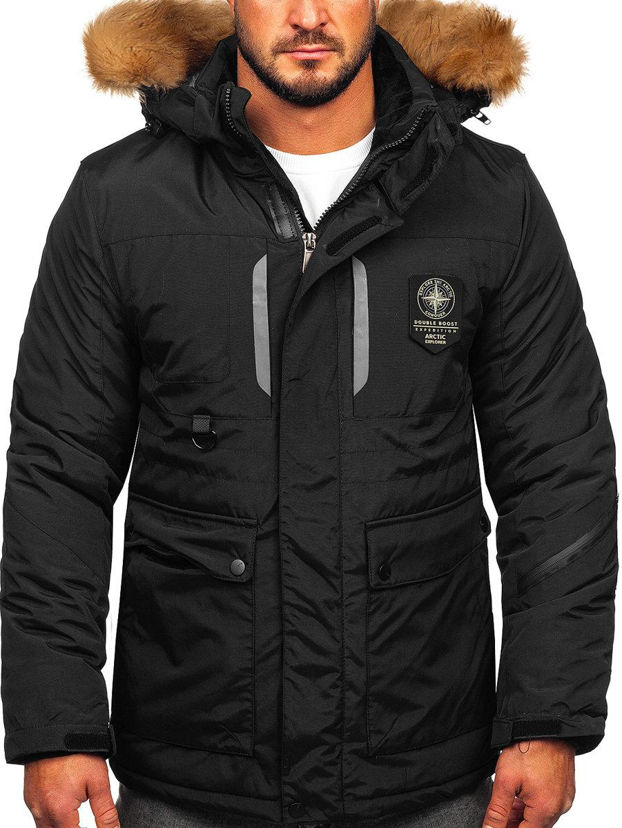 Чоловіча зимова куртка чорна Bolf 1827