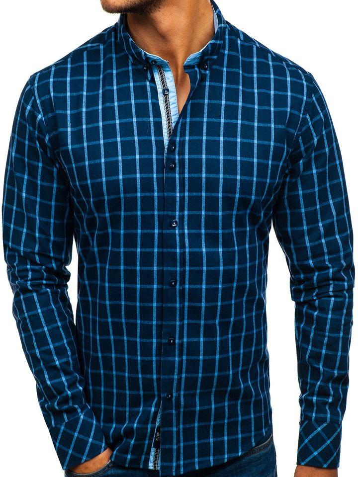 297171475ef Мужская рубашка в клетку с длинным рукавом темно-синяя Bolf 8825 ...