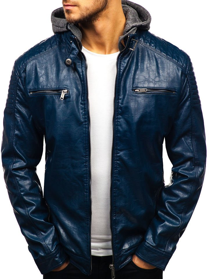 Мужская кожаная куртка темно-синяя Bolf ex709 13303e305fa65