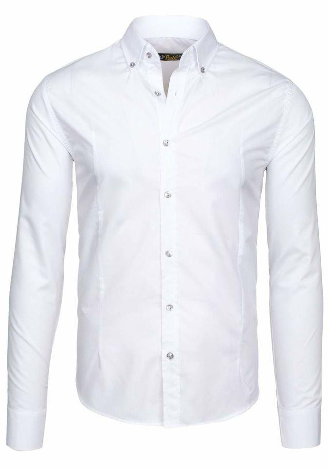 41fe39fd688 Белая мужская элегантная рубашка с длинным рукавом Bolf 1703-1 БЕЛЫЙ