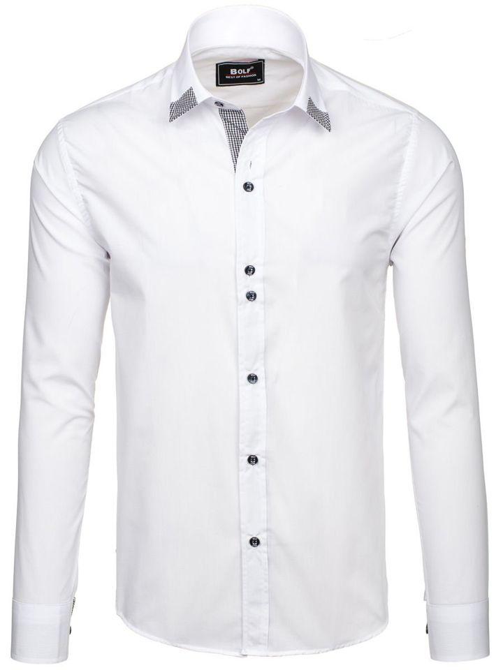 8d168bb67ce Белая элегантная мужская рубашка с длинным рукавом Bolf 6952 БЕЛЫЙ