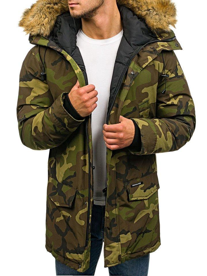 парка для мужчин военного окраски