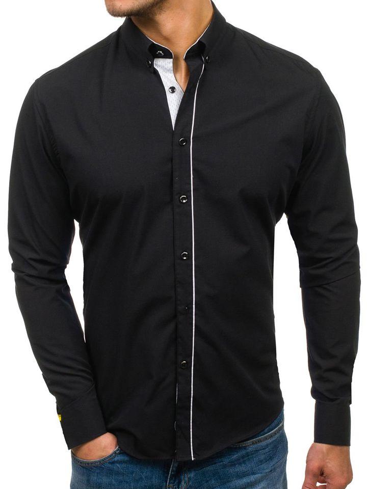 37b34962274 Мужская элегантная рубашка с длинным рукавом черная Bolf 7725 ЧЕРНЫЙ