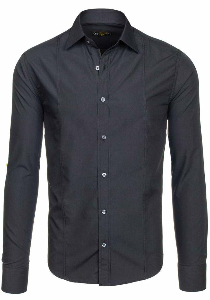 10bab45d31c Черная мужская элегантная рубашка с длинным рукавом Bolf 4705-G ЧЕРНЫЙ