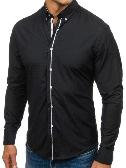 Елегантна чоловіча сорочка з довгим рукавом, чорна Bolf 7726